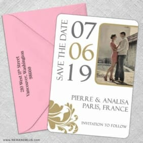 Timeless Romance 5 Save The Date With Optional Color Envelope