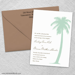Tropical Breeze 3 Invitation And Color Envelope