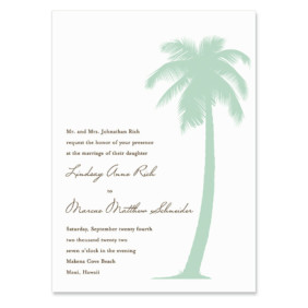 Tropical Breeze Invitation Shown In Color Green