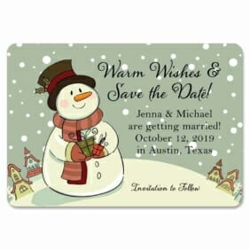 Vintage Snowman 1 Save The Date Magnets