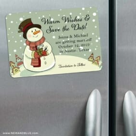 Vintage Snowman 3 Refrigerator Save The Date Magnets