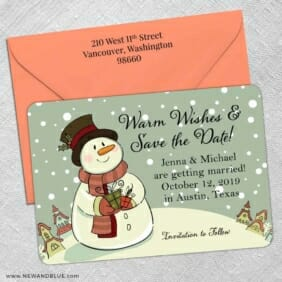 Vintage Snowman 5 Save The Date With Optional Color Envelope
