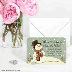Vintage Snowman 6 Wedding Save The Date Magnets