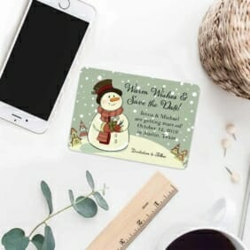 Vintage Snowman 7 Wedding Save The Date Magnets