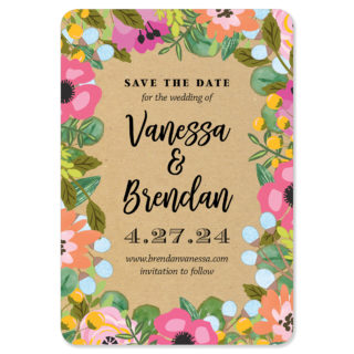 Whimsical Flowers 1 Save The Date Magnets