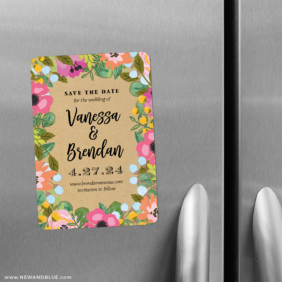 Whimsical Flowers 2 Save The Date Refrigerator Magnet
