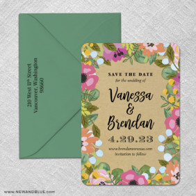 Whimsical Flowers 3 Save The Date With Optional Color Envelope