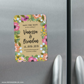 Whimsical Flowers 4 Refrigerator Save The Date Magnets