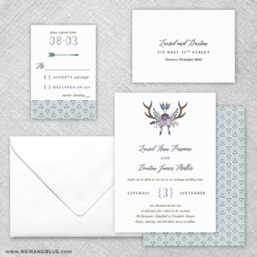 Wildaire 5 Wedding Invitation And Rsvp Card