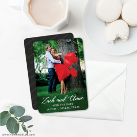 With All My Heart 6 Wedding Save The Date Magnets With Envelope